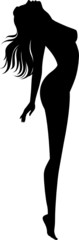 Silhouette of naked girl in profile