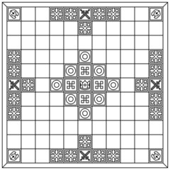 Hnefatafl gameboard (black & white)