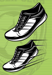 illustration with set of running shoes on green football field