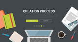 Mockup modern flat design concept for creative creation process