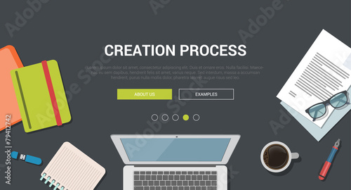 Mockup modern flat design concept for creative creation process - 79412742