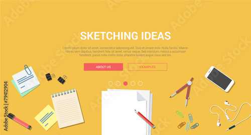 Mockup modern flat design concept creative idea sketch process - 79412904