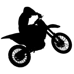 Motocross - silhouette with white background