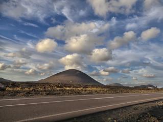 Road between volcanoes. Lanzarote.