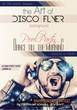 Disco Night Club Flyer layout with Disck Jockey shape and music