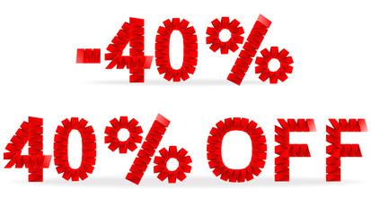 40 percent sale folded paper sign