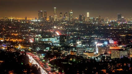 Los Angeles downtown skyline night timelapse no logo
