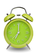 Green alarm clock with hands at 7 am or pm
