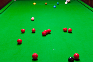 billiard table with colorful balls on it