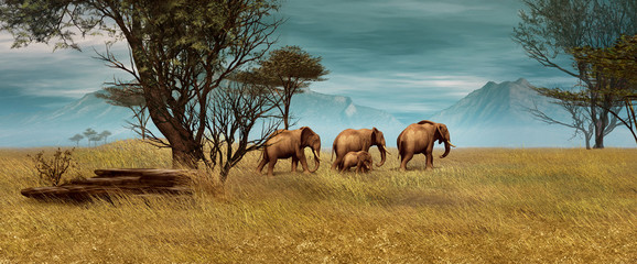 African Elephants, 3d CG