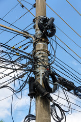 tangle of electrical wires in Sao Paulo, Brazil