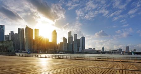 downtown Singapore at sunset