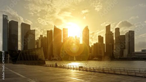 Fotobehang Singapore skyline in backlight