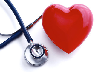 Heart with a stethoscope, isolated on white background