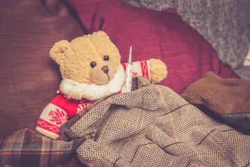 Teddybär ist erkältet