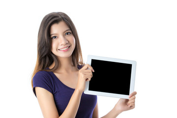 Beautiful Asian girl holding digital tablet on isolated