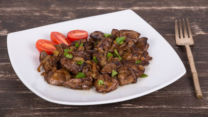 Chicken livers in a creamy sauce with onion