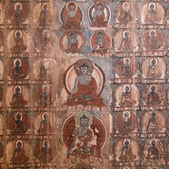 Painting art in Tiksey Monastery. Ladakh, India