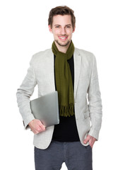 Caucasian man hold with notebook computer