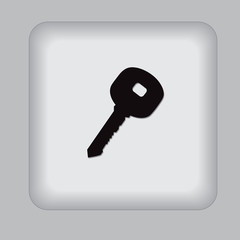 key, icon, black, flat, vector, illustration