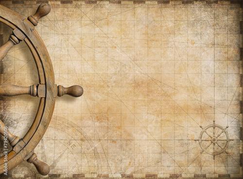 Fotobehang Oude gebouw steering wheel and blank vintage nautical map background
