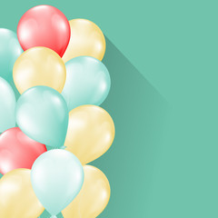balloons on soft retro background