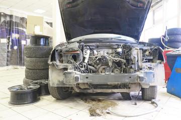 Car is prepared for repair