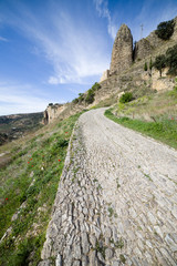 Rural Cobbled Road in Andalusia Countryside in Spain