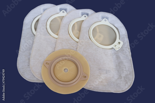 Leinwanddruck Bild Accessory bag and disc for colostomy