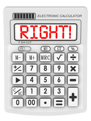Правильно! (Right!). Надпись на электронном калькуляторе