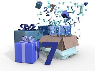 Cadeaus in blauwe kleuren voor de zevende