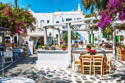 Greek tavern al fresco in Mykonos - 79426189