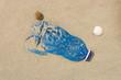Leinwandbild Motiv Plastic bottle on the beach