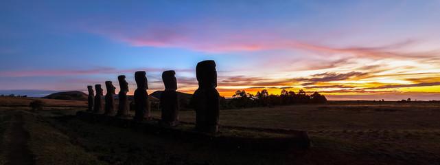 Ahu Akivi at sunset, Easter island (Rapa Naui), Chile
