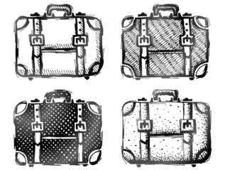 Hand drawn suitcase. Sketch of travel bag in doodle style