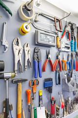 Tools on garage wall