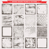Grunge Square Frames Backgrounds Textures Vector