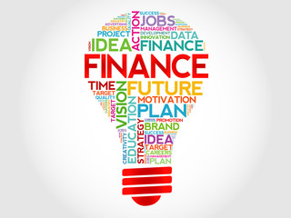 FINANCE bulb word cloud, business concept