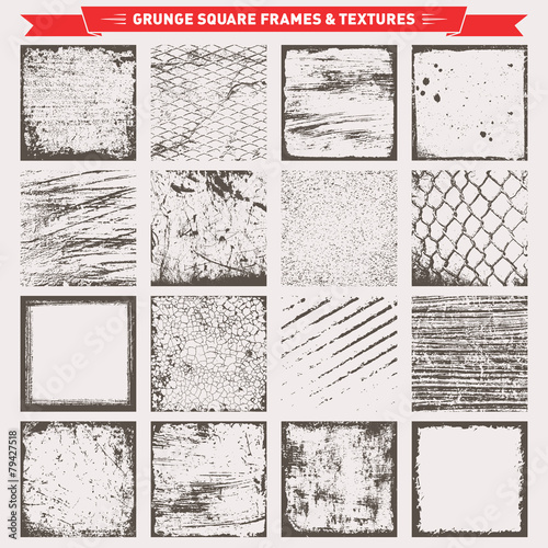 Grunge Square Frames Backgrounds Textures Vector - 79427518