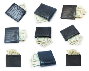 Set of a stack of dollars with leather purse isolated on a white