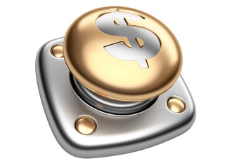 Gold button with dollar sign. Start up business concept.