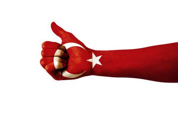 Main avec pouce levé, drapeau Turquie