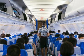 beautiful flight attendant on board of big plane