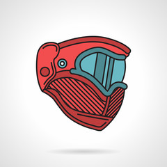 Red paintball mask flat vector icon