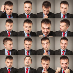 Young business man face expressions composite