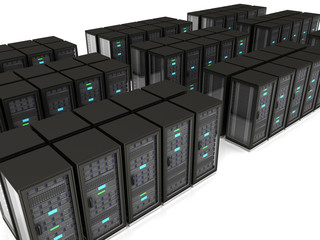 abstract 3d illustration of server room