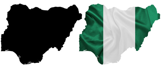 Nigeria - Waving national flag on map contour with silk texture