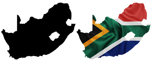 South Africa National flag on map contour with silk texture