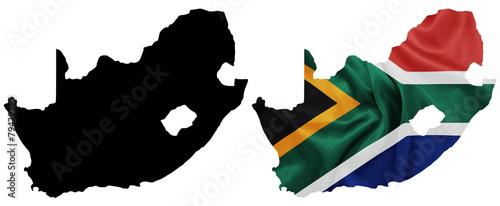 South Africa National flag on map contour with silk texture - 79429595