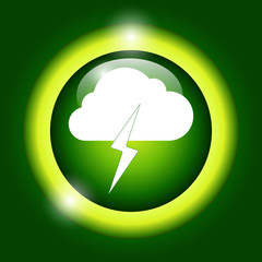 Lightning bolt weather flat line icon